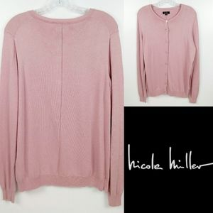 NWOT! NICOLE MILLER Pink Metallic Knit Sweater XL